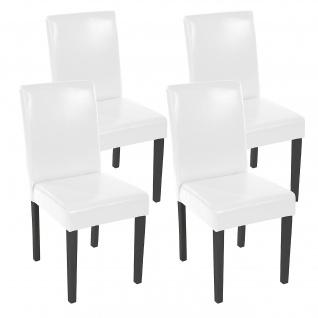 4x Esszimmerstuhl Stuhl Küchenstuhl Littau ~ Kunstleder, weiß dunkle Beine