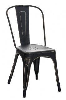 Esszimmerstuhl CP579, Stuhl Lehnstuhl, Metall, 89x44x48cm ~ antik, schwarz-gold