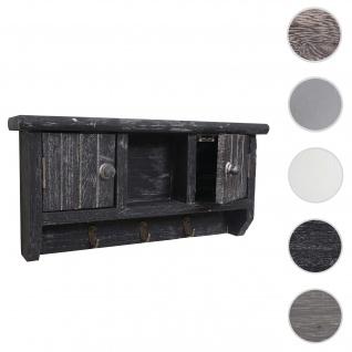 Schlüsselbrett HWC-A48, Schlüsselkasten Schlüsselboard mit Türen, Massiv-Holz ~ shabby grau