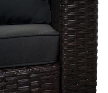 Poly-Rattan Garnitur HWC-F57, Balkon-/Garten-/Lounge-Set Sofa Sitzgruppe ~ braun, Kissen dunkelgrau mit Deko-Kissen - Vorschau 5