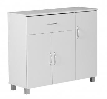 Sideboard A050 Kommode Schrank, 90 x 75 cm mit 3 Türen & 1 Schublade ~ weiß