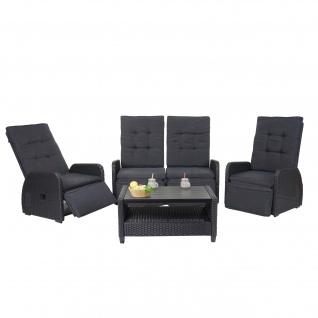 Garnitur HWC-J35, Lounge-Set Sitzgruppe Sofa, Spun Poly halbrundes Poly-Rattan ~ anthrazit, Kissen anthrazit - Vorschau 3