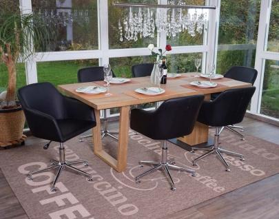 6x Esszimmerstuhl HWC-A74, Drehstuhl Loungesessel, höhenverstellbar Kunstleder, schwarz