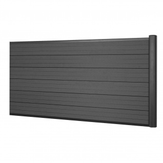 WPC-Sichtschutz Sarthe, Windschutz Zaun, Alu-Pfosten ~ Erweiterungselement niedrig, 1, 85m anthrazit