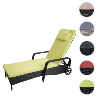 Poly-Rattan Sonnenliege Carrara, Relaxliege Gartenliege Liege, Alu ~ anthrazit, Kissen hellgrün