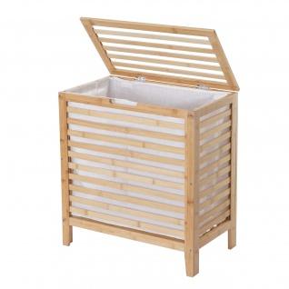 Wäschekorb HWC-B92, Laundry Wäschetruhe Wäschebox Wäschesammler Wäschebehälter Wäschetonne, Bambus 61x51x31cm 65l