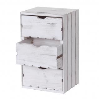 Kommode HWC-C62, Schubladenkommode Holzkiste, Shabby-Look Vintage 3 Schubladen 53x32x26cm ~ weiß - Vorschau 3