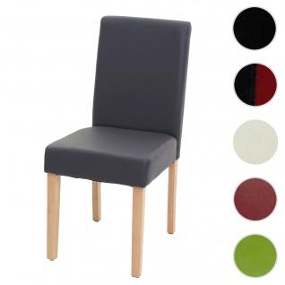 Esszimmerstuhl Littau, Küchenstuhl Stuhl, Kunstleder ~ grau matt, helle Beine