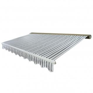 Elektrische Kassetten-Markise T122, Vollkassette Volant 4x3m ~ Polyester Grau/Weiß