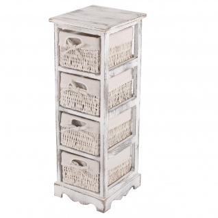 Regal Kommode mit 4 Korbschubladen, Shabby-Look, Vintage weiß