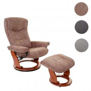 MCA Relaxsessel Hamilton, Fernsehsessel Hocker, Stoff/Textil 130kg belastbar ~ antikbraun, honigfarben