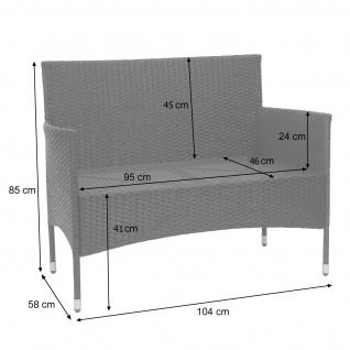 Poly-Rattan Garnitur HWC-F55, Balkon-/Garten-/Lounge-Set Sofa Sitzgruppe ~ schwarz, Kissen creme - Vorschau 5