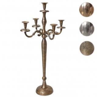 Kerzenleuchter HWC-D81, Kerzenständer Leuchter Kerzenhalter, 5-armig aus Aluminium 80cm massiv 2, 2kg ~ Farbe: Antik Gold - Vorschau 1