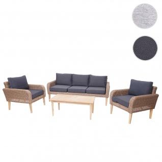 Garnitur HWC-H57, Garten-/Lounge-Set Sofa Sitzgruppe, rundes Poly-Rattan Alu + Akazie Spun Poly ~ Kissen dunkelgrau