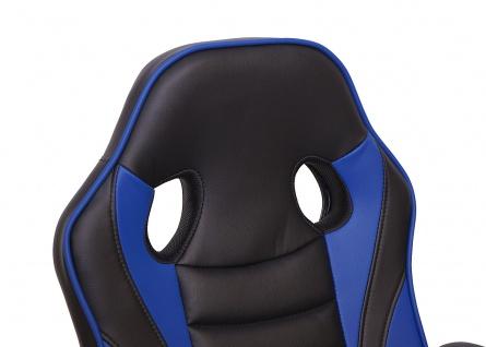 Bürostuhl HWC-F59, Schreibtischstuhl Drehstuhl Racing-Chair Gaming-Chair, Kunstleder ~ schwarz/blau - Vorschau 5