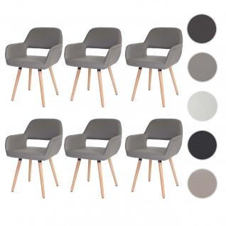 6x Esszimmerstuhl HWC-D87, Stuhl Küchenstuhl, Retro 50er Jahre Design Kunstleder, taupe, helle Beine