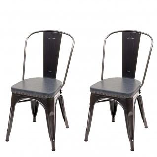 2x Esszimmerstuhl HWC-H10e, Küchenstuhl Stuhl, Chesterfield Metall Kunstleder Industrial Gastronomie ~ schwarz-grau - Vorschau 2