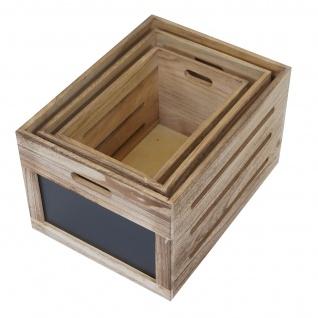 3er Set Holzkiste HWC-E11, Aufbewahrungsbox mit Tafel, Shabby-Look ~ naturbraun - Vorschau 4