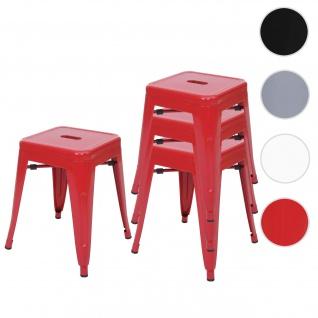 4x Hocker HWC-A73, Metallhocker Sitzhocker, Metall Industriedesign stapelbar ~ rot