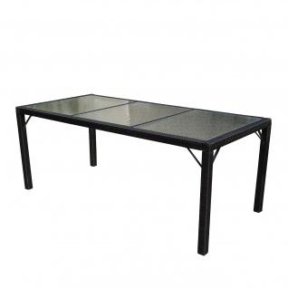 Poly-Rattan Gartentisch Ariana, Tisch, Glas anthrazit, 190x90cm