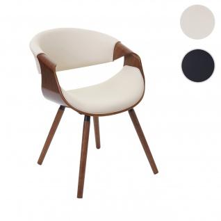 Esszimmerstuhl HWC-E90, Stuhl Küchenstuhl, Retro-Design Vintage Bugholz Walnuss-Optik Kunstleder creme
