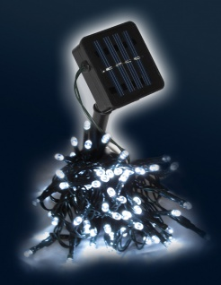 LED Solar Lichterkette LD02, Leuchtkette ~ 100 LEDs, weiß