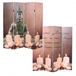 LED-Paravent Buddha, Trennwand Raumteiler, Timer netzbetrieben 180x160cm 12 LEDs