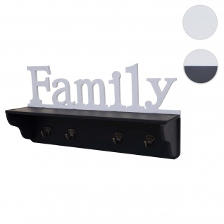 Wandgarderobe HWC-D41 Family, Garderobe Regal, 4 Haken massiv 30x60x13cm ~ schwarz/weiß