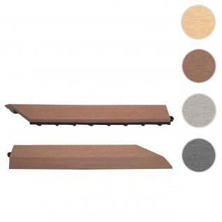 2x Abschlussleiste für WPC Bodenfliese Rhone, Abschlussprofil, Holzoptik Balkon/Terrasse ~ coffee rechts ohne Haken