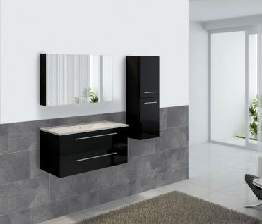 Badezimmerset XL HWC-C11, Waschtisch Spiegelschrank Hängeschrank, hochglanz schwarz