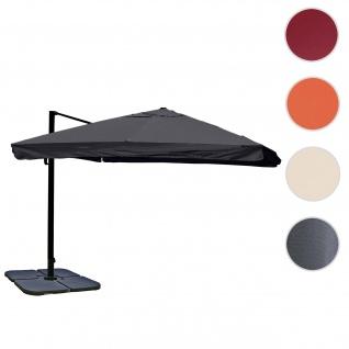 Gastronomie-Ampelschirm HWC-A96, 3, 5x3, 5m (Ø4, 95m) Polyester/Alu 25kg ~ Flap, anthrazit mit Ständer, drehbar