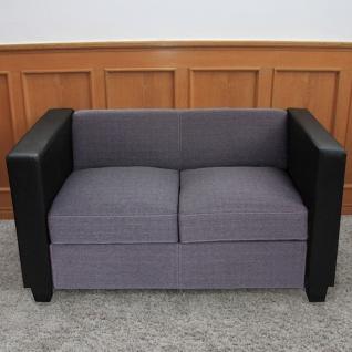 2er Sofa Couch Loungesofa Lille, Kunstleder Stoff/Textil schwarz/anthrazit