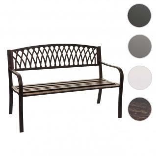 Gartenbank HWC-F45, Bank Parkbank Sitzbank, 2-Sitzer pulverbeschichteter Stahl ~ vintage bronze