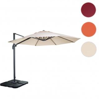 Gastronomie-Ampelschirm HWC-A96, Sonnenschirm, rund Ø 3m Polyester Alu/Stahl 23kg ~ creme mit Ständer, drehbar