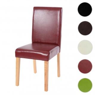 Esszimmerstuhl Littau, Küchenstuhl Stuhl, Kunstleder ~ rot-braun, helle Beine