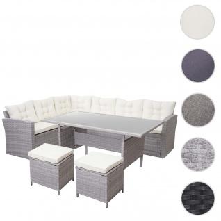 Poly-Rattan-Garnitur HWC-A29, Gartengarnitur Sitzgruppe Lounge-Esstisch-Set Sofa ~ hellgrau, Kissen creme + 2x Hocker