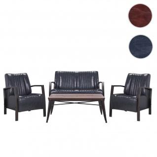 Wohnzimmer-Set HWC-H10, 2er Sofa Polstersessel Couchtisch, Kunstleder Metall Industrial FSC ~ grau