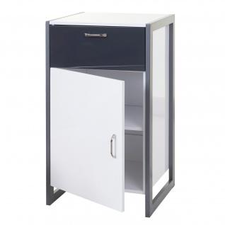 Kommode HWC-B27, Schubladenschrank, Hochglanz 90x50x40cm, weiß/grau