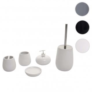 5-teiliges Badset HWC-C72, WC-Garnitur Badezimmerset Badaccessoires, Keramik ~ weiß