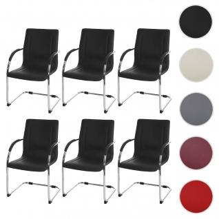 6x Esszimmerstuhl Samara, Freischwinger Küchenstuhl Lehnstuhl Stuhl, PVC Stahl ~ schwarz