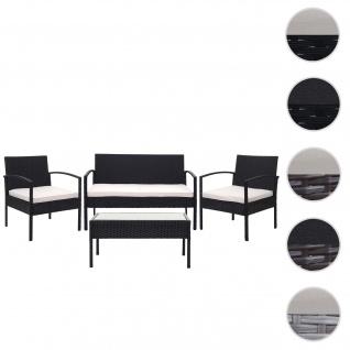 Poly-Rattan Garnitur HWC-F56, Balkon-/Garten-/Lounge-Set Sitzgruppe ~ schwarz, Kissen creme