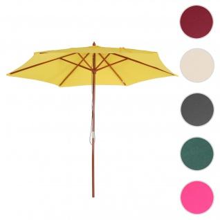 Sonnenschirm Florida, Gartenschirm Marktschirm, Ø 3m Polyester/Holz ~ gelb