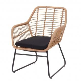 Polyrattan Garnitur HWC-G17a, Gartengarnitur Sofa Set Sitzgruppe ~ naturfarben, Polster anthrazit ohne Dekokissen - Vorschau 5