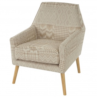 Sessel Malmö T372, Retro 50er Jahre Design, Textil beige/braun