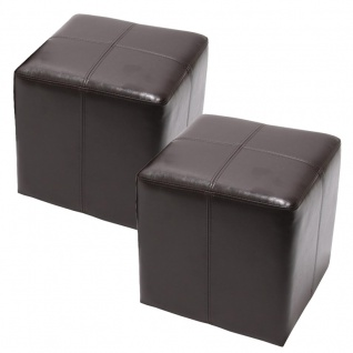2x Sitzwürfel Hocker Sitzhocker Onex, Leder + Kunstleder, 36x36x36cm ~ braun