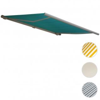 Elektrische Kassettenmarkise T122, Markise Vollkassette 4x3m ~ Polyester türkis-blau, Rahmen grau