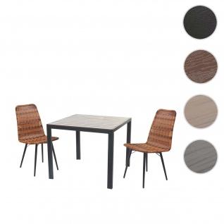 Gartengarnitur HWC-F90, Sitzgruppe Balkon-/Lounge-Set, WPC-Tischplatte 2xPoly-Rattan Stuhl+Tisch 90x90cm ~ braun