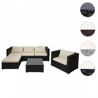 Poly-Rattan-Garnitur Brescia, Gartengarnitur Sitzgruppe Sofa Lounge-Set ~ schwarz, Kissen creme