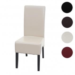 Esszimmerstuhl Latina, Küchenstuhl Stuhl, Leder ~ creme, dunkle Beine