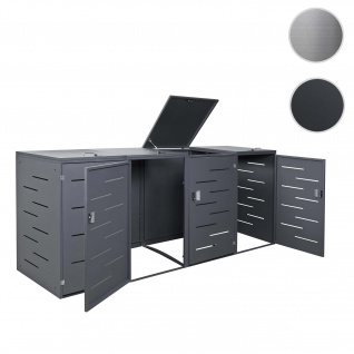 4er-Mülltonnenverkleidung HWC-E83, Mülltonnenbox Mülltonnenabdeckung, erweiterbar 108x61x76cm Stahl anthrazit